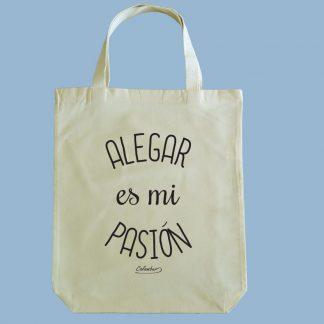 Bolsa ecológica Calambur 100% algodón estampada con mensaje humorístico (frase chistosa) alegar es mi pasión
