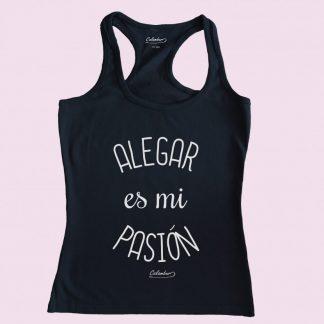 Camiseta de tirantes negra Calambur 100% algodón estampada con mensaje humorístico (frase chistosa) alegar es mi pasión