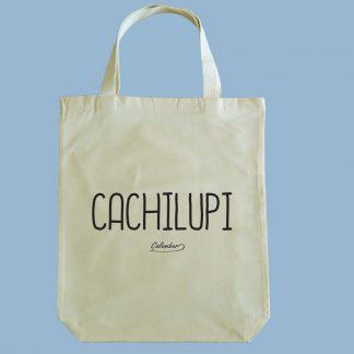 Bolsa ecológica Calambur 100% algodón estampada con mensaje humorístico (frase chistosa) y expresión chilena cachilupi