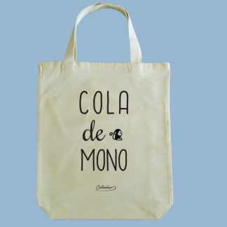 Bolsa ecológica Calambur 100% algodón estampada con mensaje humorístico (frase chistosa), expresión chilena y dibujo divertido cola de mono