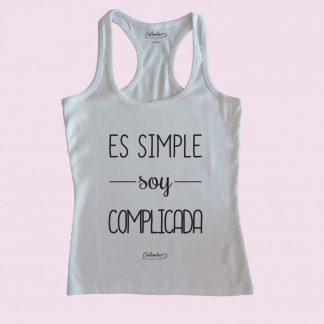 Camiseta de tirantes blanca Calambur 100% algodón estampada con mensaje humorístico (frase chistosa) es simple soy complicada