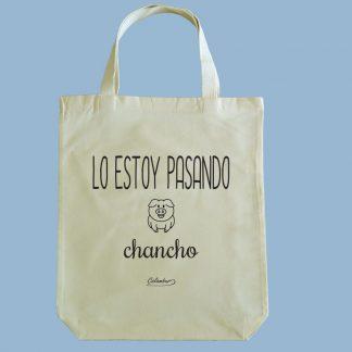 Bolsa ecológica Calambur 100% algodón estampada con mensaje humorístico (frase chistosa), expresión chilena y dibujo divertido lo estoy pasando chancho