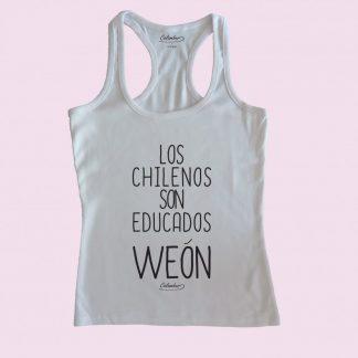 Camiseta de tirantes blanca Calambur 100% algodón estampada con mensaje humorístico (frase chistosa) los chilenos son educados weón