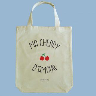 Bolsa ecológica Calambur 100% algodón estampada con mensaje humorístico (frase chistosa) ma cherry d'amour
