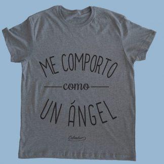 Polera gris Calambur 100% algodón estampada con mensaje humorístico (frase chistosa) me comporto como un ángel
