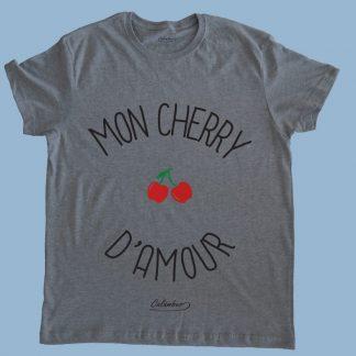 Polera gris Calambur 100% algodón estampada con mensaje humorístico (frase chistosa) y dibujo divertido mon cherry damour