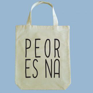 Bolsa ecológica Calambur 100% algodón estampada con mensaje humorístico (frase chistosa) y expresión chilena peor es na