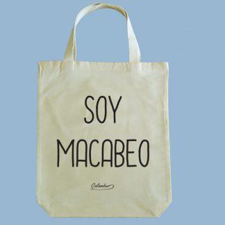 Bolsa ecológica Calambur 100% algodón estampada con mensaje humorístico (frase chistosa) y expresión chilena soy macabeo