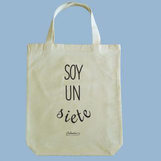 Bolsa ecológica Calambur 100% algodón estampada con mensaje humorístico (frase chistosa) y expresión chilena soy un siete