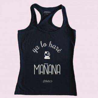 Camiseta de tirantes negra Calambur 100% algodón estampada con mensaje humorístico (frase chistosa) y dibujo divertido ya lo haré mañana