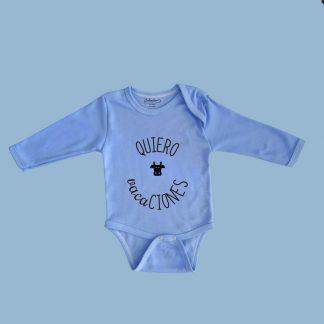 Body azul Calambur 100% algodón estampado con mensaje humorístico y dibujo divertido quiero vacaciones