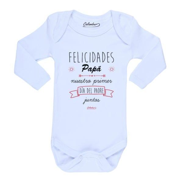 Ropa Bebe Body Calambur 100% algodón Moda Infantil Pilucho Felicidades Papá