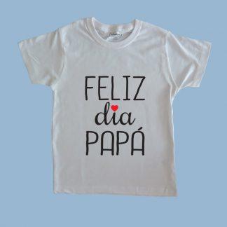 Polera blanca para niños 100% algodón personalizada por Calambur Feliz día papá