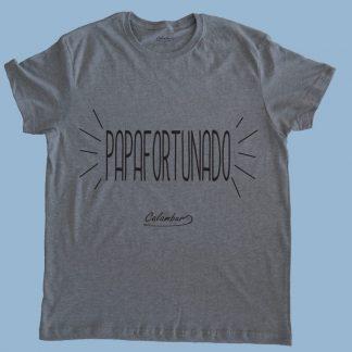 Polera gris para hombre 100% algodón personalizada por Calambur Papafortunado