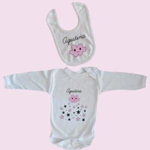 Conjunto recién nacido 100% algodón niña body y babero personalizados