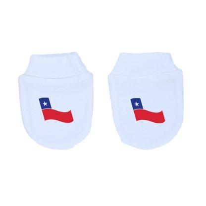 Mitones para recién nacido 100% algodón, hechos en Chile, diseñados por Calambur con bandera Chile