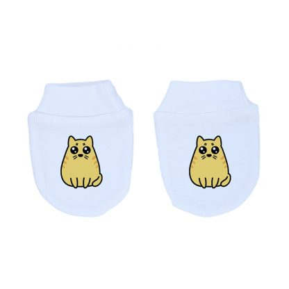 Mitones para recién nacido 100% algodón, hechos en Chile, diseñados por Calambur con gatitos