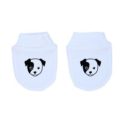 Mitones para recién nacido 100% algodón, hechos en Chile, diseñados por Calambur con perrito