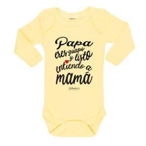 Ropa Bebe Body Calambur 100% algodón Moda Infantil Pilucho Papá Eres Guapo Y Listo Entiendo A Mamá