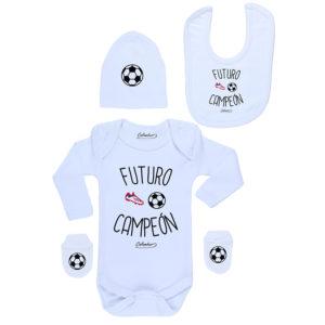 Conjunto Bebé Recién Nacido Body Pilucho Gorro Babero Mitones Futuro Campeón
