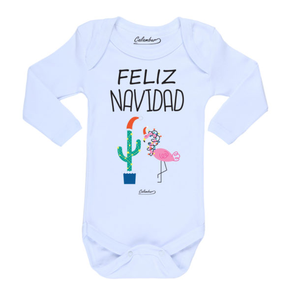Ropa Bebe Body Calambur 100% algodón Moda Infantil Pilucho Feliz Navidad Flamenco Blanco