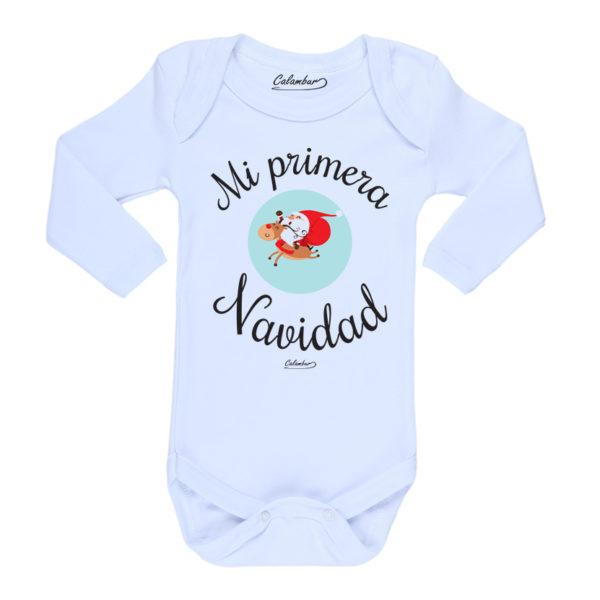 Ropa Bebe Body Calambur 100% algodón Moda Infantil Pilucho Mi Primera Navidad