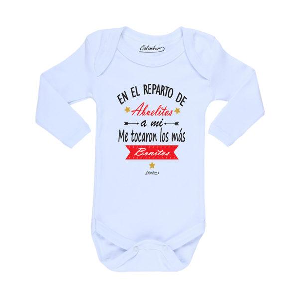 Ropa Bebe Body Calambur 100% algodón Moda Infantil Pilucho En El Reparto De Abuelitos A Mi Me Tocaron Los Más Bonitos