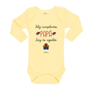 Ropa Bebe Body Calambur 100% algodón Moda Infantil Pilucho Feliz Cumpleaños Papá Soy Tu Regalito