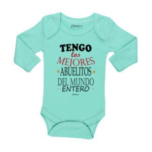 Ropa Bebe Body Calambur 100% algodón Moda Infantil Pilucho Tengo Los Mejores Abuelitos Del Mundo Entero