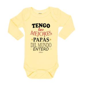 Ropa Bebe Body Calambur 100% algodón Moda Infantil Pilucho Tengo Los Mejores Papás Del Mundo Entero