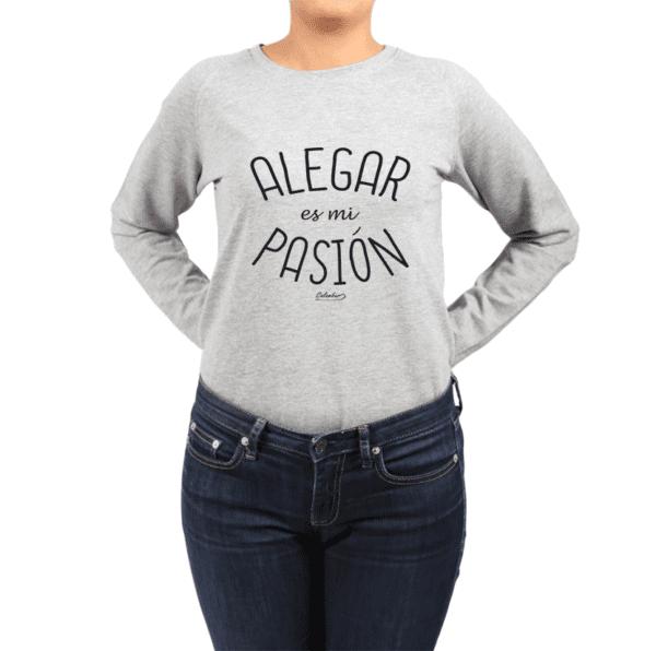 Polerón Mujer Calambur 100% algodón Mensaje Divertido Estampado Alegar Es Mi Pasión