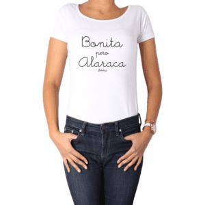 Polera Mujer Calambur 100% algodón Mensaje Divertido Estampado Bonita Pero Alaraca