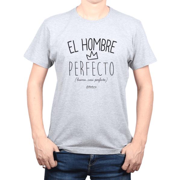 Polera Hombre Calambur 100% algodón Mensaje Divertido Estampado El Hombre Perfecto