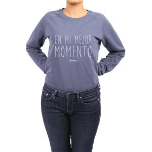 Polerón Mujer Calambur 100% algodón Mensaje Divertido Estampado En Mi Mejor Momento