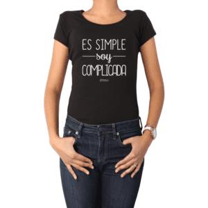 Polera Mujer Calambur 100% algodón Mensaje Divertido Estampado Es Simple Soy Complicada