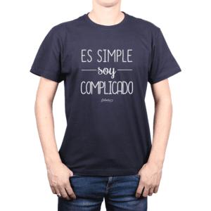Polera Hombre Calambur 100% algodón Mensaje Divertido Estampado Es Simple Soy Complicado