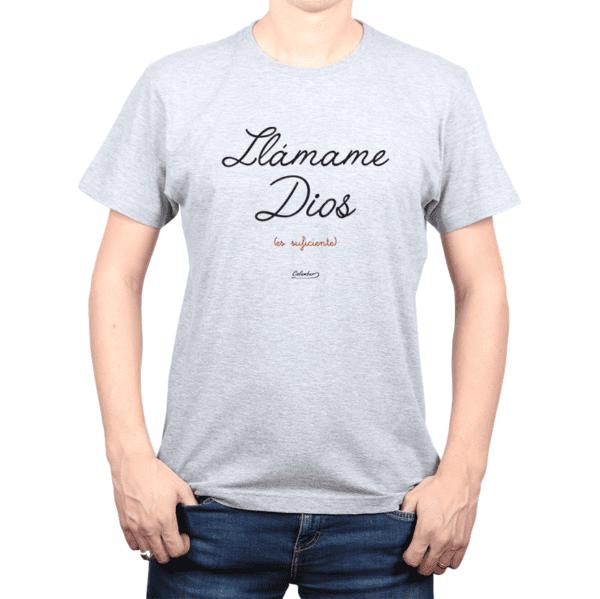 Polera Hombre Calambur 100% algodón Mensaje Divertido Estampado Llámame Dios