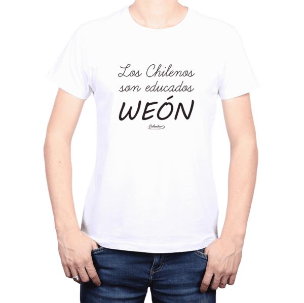Polera Hombre Calambur 100% algodón Mensaje Divertido Estampado Los Chilenos Son Educados Weón