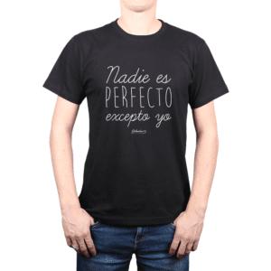 Polera Hombre Calambur 100% algodón Mensaje Divertido Estampado Nadie Es Perfecto Excepto Yo