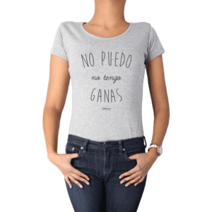 Polera Mujer Calambur 100% algodón Mensaje Divertido Estampado No Puedo No Tengo Ganas