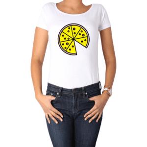 Polera Mujer Calambur 100% algodón Mensaje Divertido Estampado Pizza