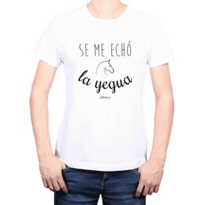 Polera Hombre Calambur 100% algodón Mensaje Divertido Estampado Se Me Echó La Yegua