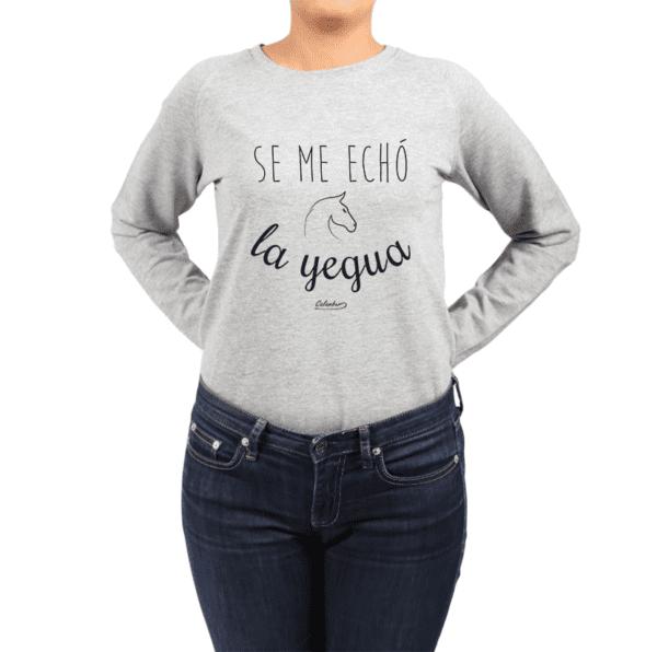 Polerón Mujer Calambur 100% algodón Mensaje Divertido Estampado Se Me Echó La Yegua
