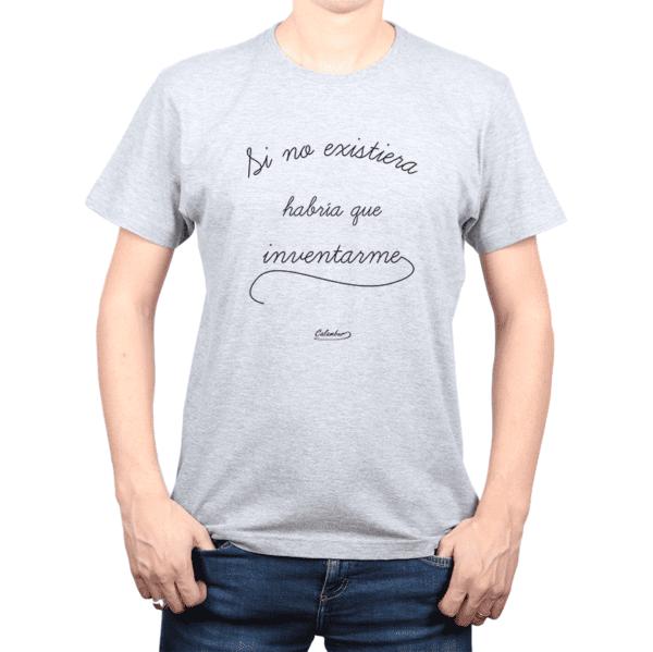 Polera Hombre Calambur 100% algodón Mensaje Divertido Estampado Si No Existiera Habría Que Inventarme