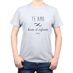 Polera Hombre Calambur 100% algodón Mensaje Divertido Estampado Te Amo Hasta El Infinito