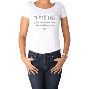 Polera Mujer Calambur 100% algodón Mensaje Divertido Estampado Ya Voy Llegando