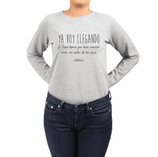 Polerón Mujer Calambur 100% algodón Mensaje Divertido Estampado Ya Voy Llegando
