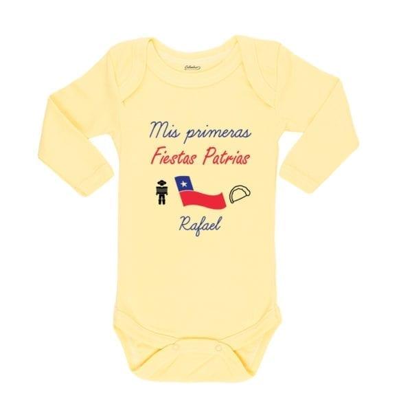 Ropa Bebe Body Calambur 100% algodón Moda Infantil Mis Primeras Fiestas Patrias Nombre Personalizado