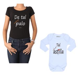 Conjunto De Tal Palo Tal Astilla Mamá y Bebé Calambur 100% algodón Polera y Body