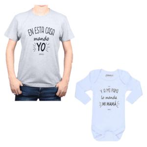 Conjunto En Esta Casa Mando Yo Papá y Bebé Calambur 100% algodón Polera y Body